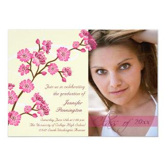 Trendy stylish cherry blossom photo graduation 5x7 paper invitation card