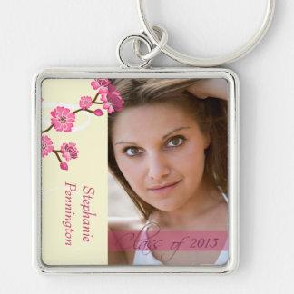 Trendy stylish cherry blossom photo graduation Silver-Colored square keychain