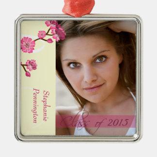 Trendy stylish cherry blossom photo graduation metal ornament
