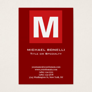 Trendy stylish dark red white monogram classical business card