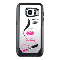 Trendy Stylish Face and Pink Lipstick Kiss Mirror OtterBox Samsung Galaxy S7 Edge Case