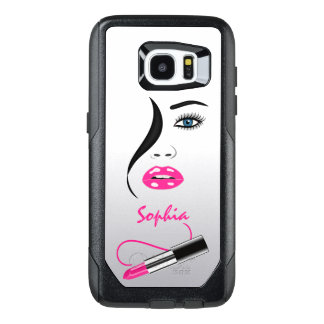 Trendy Stylish Face and Pink Lipstick Kiss Mirror OtterBox Samsung Galaxy S7 Edge Case