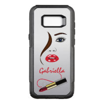 Trendy Stylish Face and Red Lipstick Kiss Mirror OtterBox Commuter Samsung Galaxy S8  Case