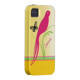 Trendy Stylish Fuchsia Butterfly Bird Greek Key Case-Mate iPhone 4 Covers
