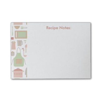 Trendy Stylish Kitchen Cooking Utensils Pattern Post-it® Notes