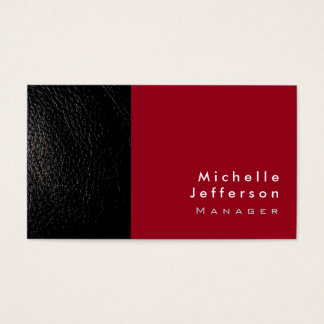 Trendy Stylish Leather Carmine Red Business Card