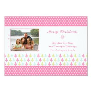 Trendy stylish pink Christmas trees photo card