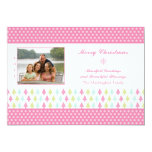 Trendy stylish pink Christmas trees photo card Personalized Announcement