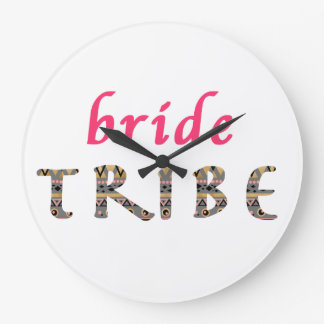 trendy stylish pink gold bride tribe patter large clock