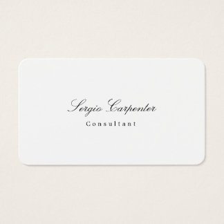 Trendy Stylish Simple Plain White Minimalist Class Business Card
