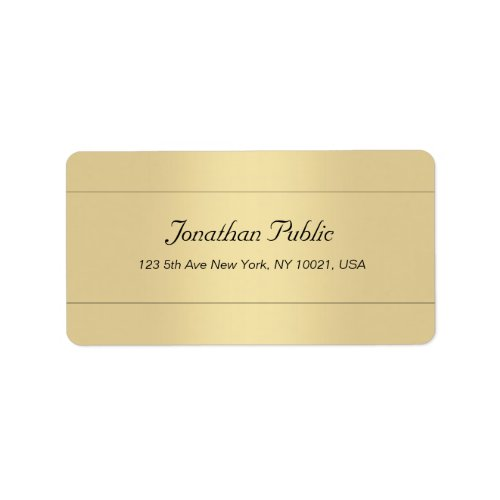 Trendy Stylish Simple Template Gold Look Address Label