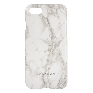 Trendy Stylish White Marble Subtle Monogram Name iPhone 7 Case