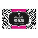 Trendy Stylish Zebra Print Diamond Girly Hot Pink Business Card