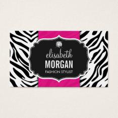 Trendy Stylish Zebra Print Diamond Girly Hot Pink Business Card at Zazzle
