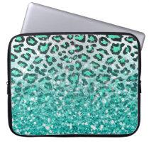 trendy summer aqua green leopard animal print computer sleeve
