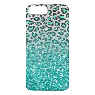 trendy summer aqua green leopard animal print iPhone 8 plus/7 plus case