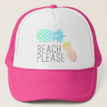 """trendy summer &quot;beach please&quot;, colorful pineapple trucker hat<br><div class=""""desc"""">Fresh,  summer and colorful design. You may customize the product by choosing the background color.</div>"""