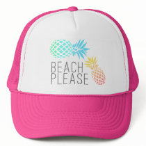 "trendy summer ""beach please"", colorful pineapple trucker hat"