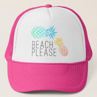 "trendy summer ""beach please"", colorful pineapple trucker hat"
