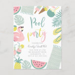 """Trendy Summer Pool Party Script Sweet 16 Birthday Invitation Postcard<br><div class=""""desc"""">Celebrate your 16th birthday with these trendy summer birthday invitations! Featuring tropical leaves, flamingo pool float, ice creams, pineapple, drinks, coconut, watermelon, towels, flip-flops. """"Pool Party"""" is displayed in a cute colorful script. Easily personalize with your party details in a simple typography. Reversing to hand-drawn lines against pastel blue background....</div>"""