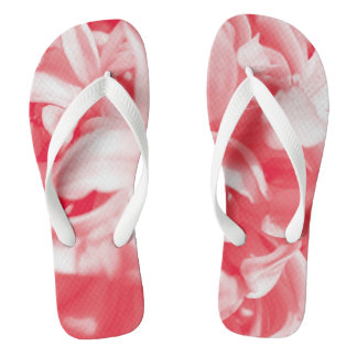 Trendy summer red and white flowers flip flops
