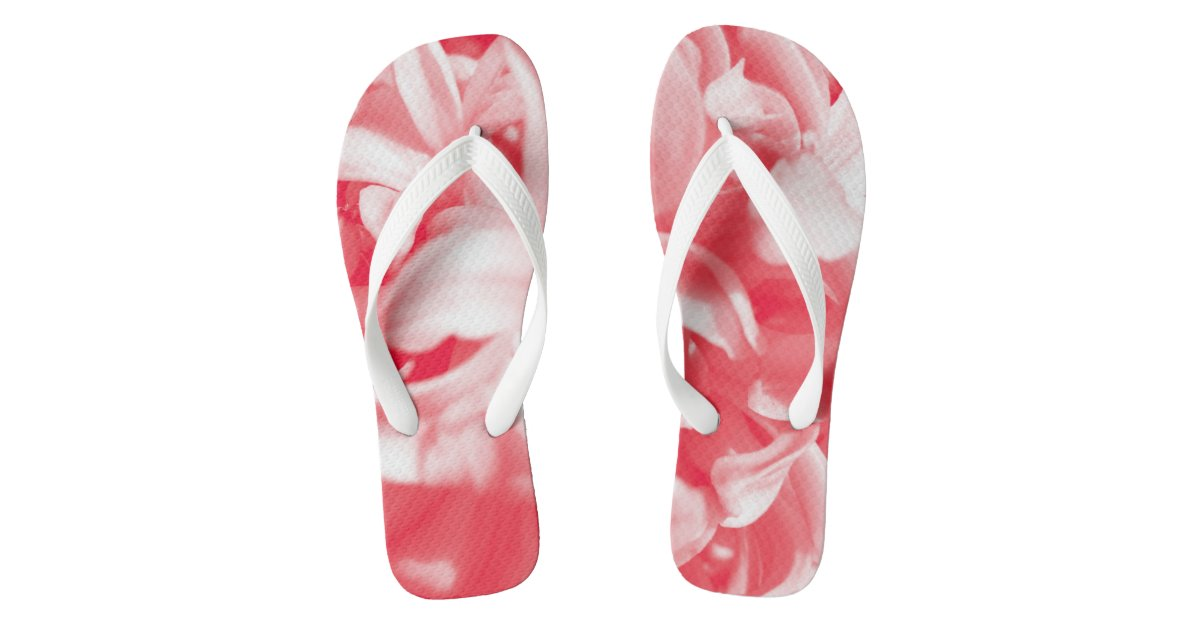 Trendy summer red and white flowers flip flops zazzle mightylinksfo
