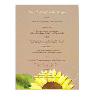 Trendy Sunflower Wedding Reception Dinner Menus 6.5x8.75 Paper Invitation Card