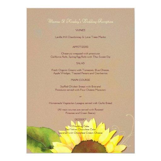 Trendy Sunflower Wedding Reception Dinner Menus Card