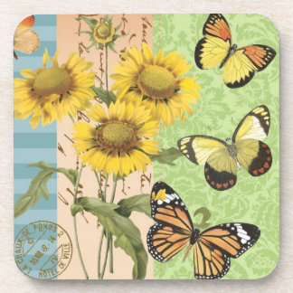 Trendy Sunflowers and Butterflies coaster
