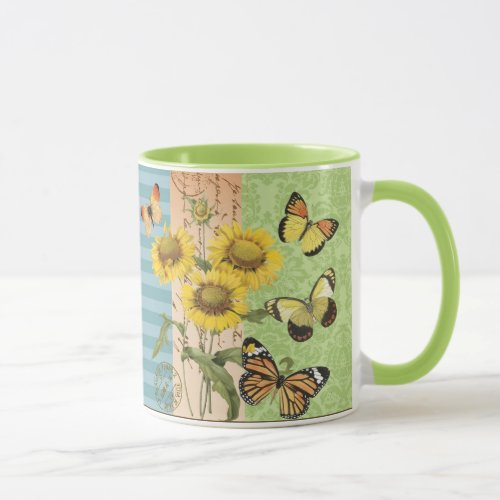 Trendy Sunflowers and Butterflies mug