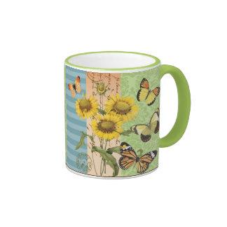 Trendy Sunflowers and Butterflies mug