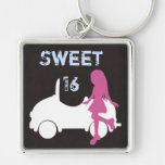 Trendy Sweet 16 Silhouette Girl and Car Keychain