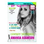 Trendy Sweet Sixteen Magazine Cover invitations