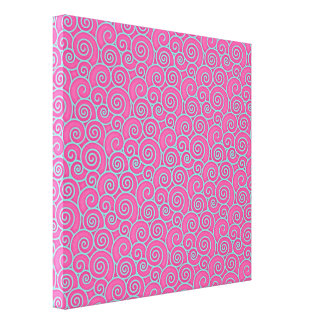 Trendy Swirly Pastel Pink and Blue Abstract Gallery Wrap Canvas