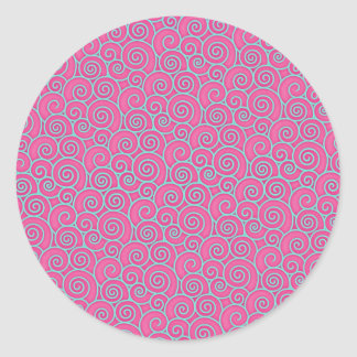 Trendy Swirly Pastel Pink and Blue Abstract Classic Round Sticker