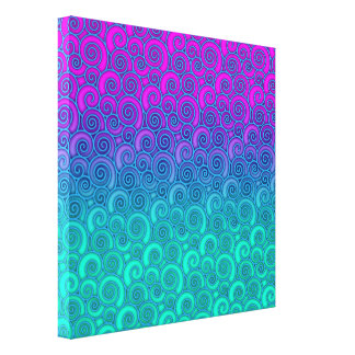 Trendy Swirly Wavy Teal and Bright PInk Abstract Canvas Print