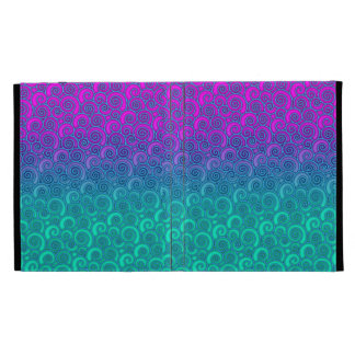 Trendy Swirly Wavy Teal and Bright PInk Abstract iPad Cases