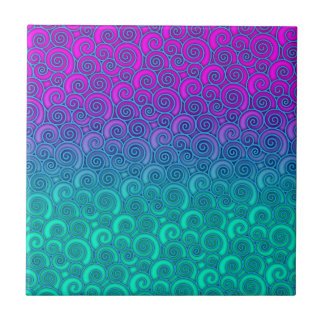 Trendy Swirly Wavy Teal and Bright PInk Abstract Ceramic Tile
