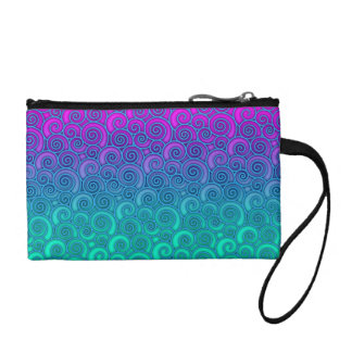 Trendy Swirly Wavy Teal and Bright PInk Abstract Change Purse