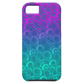 Trendy Swirly Wavy Teal and Bright PInk Abstract iPhone 5 Case
