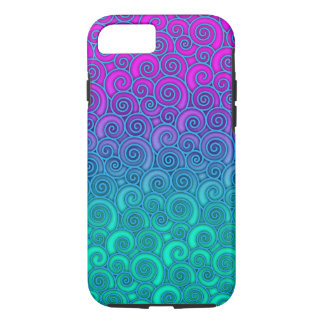 Trendy Swirly Wavy Teal and Bright PInk Abstract iPhone 7 Case