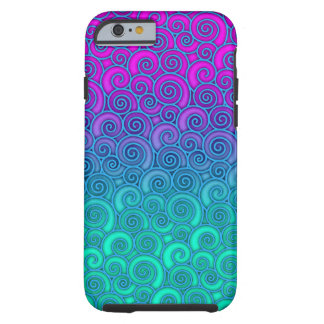Trendy Swirly Wavy Teal and Bright PInk Abstract iPhone 6 Case