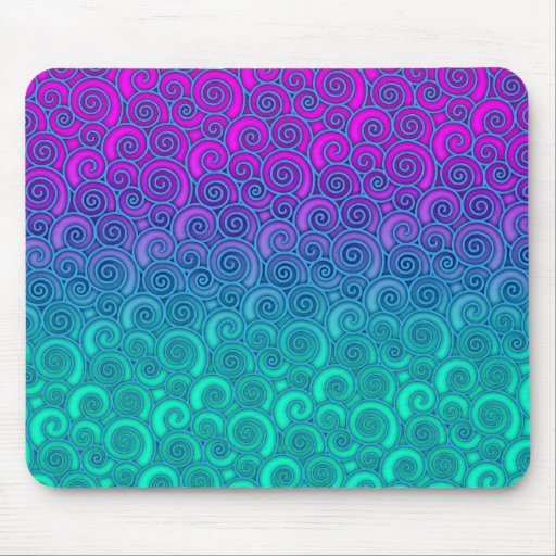 Trendy Swirly Wavy Teal and Bright PInk Abstract Mousepads