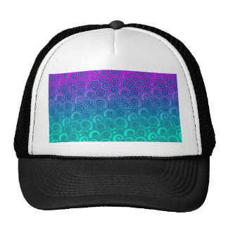 Trendy Swirly Wavy Teal and Bright PInk Abstract Trucker Hat