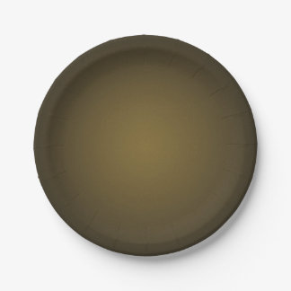 Trendy Tan and Black Grainy Vignette 7 Inch Paper Plate