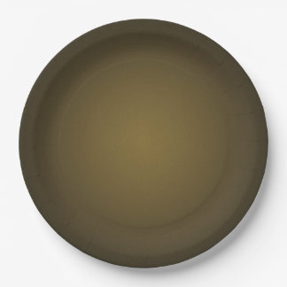 Trendy Tan and Black Grainy Vignette 9 Inch Paper Plate