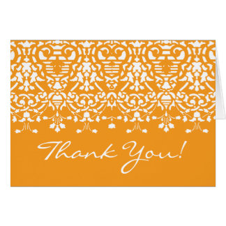 Trendy Tangerine Damask Thank You Note Card