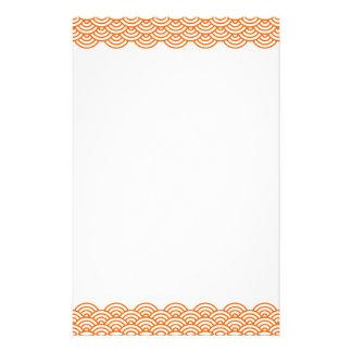 Trendy tangerine Japanese wave pattern stationery