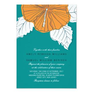 Trendy Teal 1 Orange Hibiscus Wedding Invitation