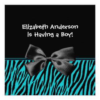 Trendy Teal And Black Zebra Print Boy Baby Shower Personalized Invitation